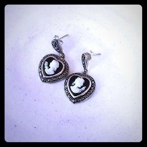 Vintage Sterling Cameo Earrings